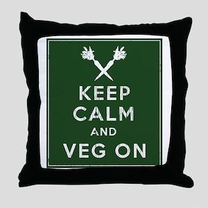 Keep Calm and Veg On Throw Pillow