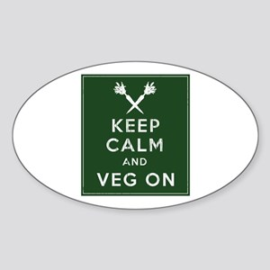 Keep Calm and Veg On Sticker (Oval)