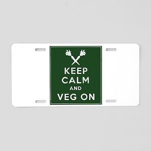 Keep Calm and Veg On Aluminum License Plate