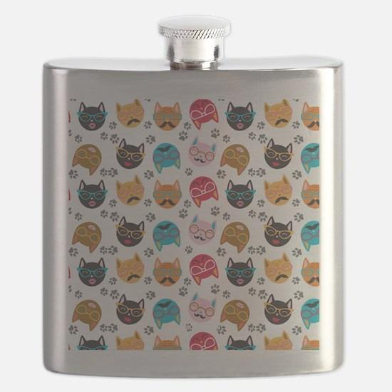 Cute Cat Mustache and Lips, Adopt a Cat Flask