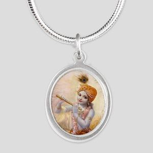Darling Of Vrindavana Silver Oval Necklace