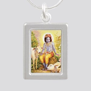 Krishna Attracts Everyone Silver Portrait Necklace