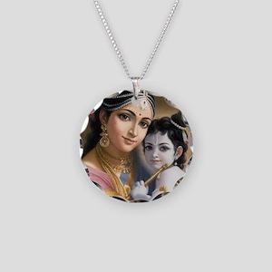 Krishna And Yashoda Necklace Circle Charm