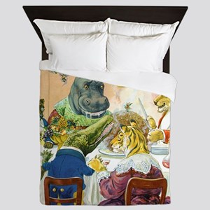 Christmas Banquet in Animal Land Queen Duvet