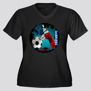 PANAMA SOCCE Women's Plus Size Dark V-Neck T-Shirt
