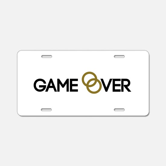Game over Wedding rings Aluminum License Plate