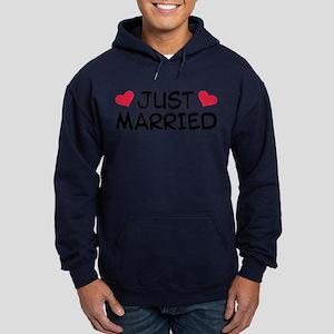 Just Married Wedding Hoodie (dark)
