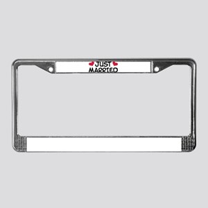 Just Married Wedding License Plate Frame