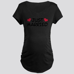 Just Married Wedding Maternity Dark T-Shirt