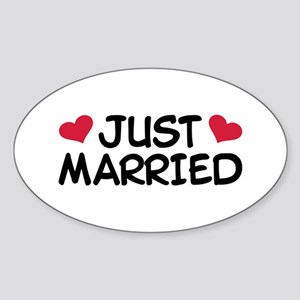 Just Married Wedding Sticker (Oval)