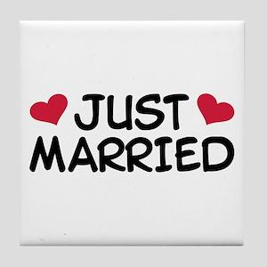 Just Married Wedding Tile Coaster