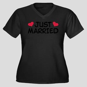 Just Married Wedding Women's Plus Size V-Neck Dark