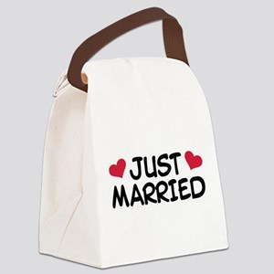 Just Married Wedding Canvas Lunch Bag