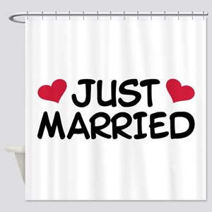 Just Married Wedding Shower Curtain