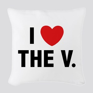 I Love The V. Woven Throw Pillow
