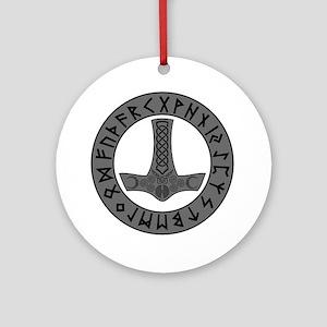 Mjölnir Rune Shield Ornament (Round)