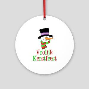 Dutch Christmas Snowman Ornament (Round)