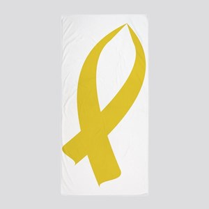 Awareness Ribbon (Gold) Beach Towel