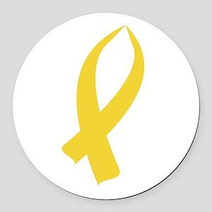 Awareness Ribbon (Gold) Round Car Magnet