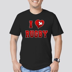 I Love Rugby Men's Fitted T-Shirt (dark)