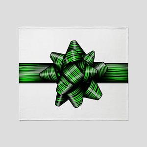 Green Zebra Bow Throw Blanket