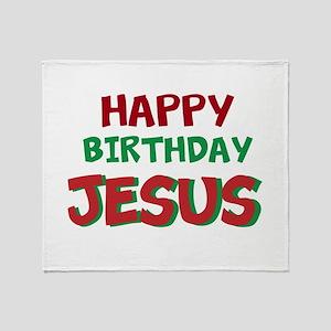 Happy Birthday Jesus Throw Blanket