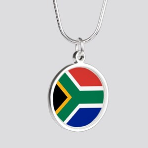 South Africa Flag Silver Round Necklace