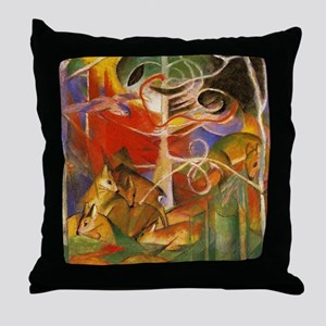 Art Deco Deer In The Forest Throw Pillow