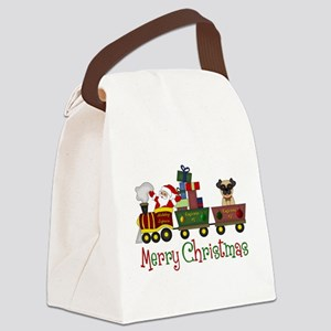 Pug in Train Delivering Presents Canvas Lunch Bag