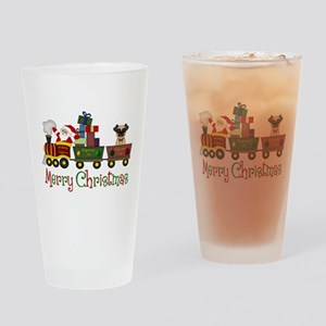 Pug in Train Delivering Presents Drinking Glass