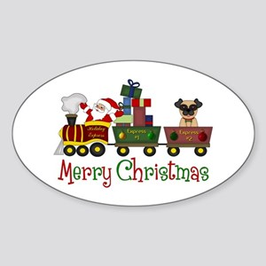 Pug in Train Delivering Presents Sticker (Oval)