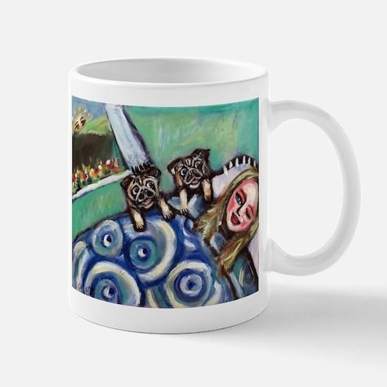 Pug wakeup call 2 Mugs
