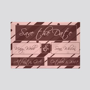 Save the Date (pink & brown) Rectangle Magnet