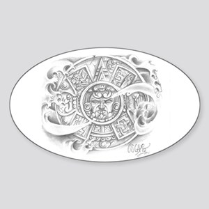 Aztec Calendar Oval Sticker