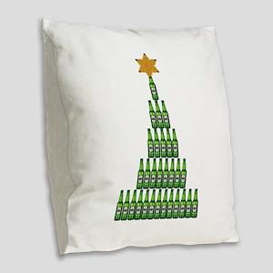 Beer Christmas Tree Burlap Throw Pillow