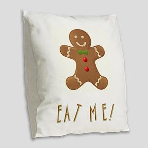 EAT ME! Burlap Throw Pillow