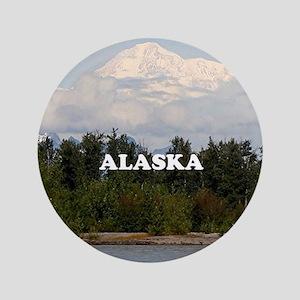 """Alaska: Denali, forest, river, mountai 3.5"""" Button"""