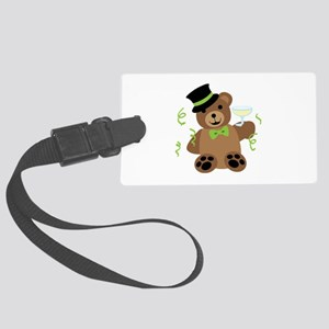 New Years Teddy Bear Luggage Tag