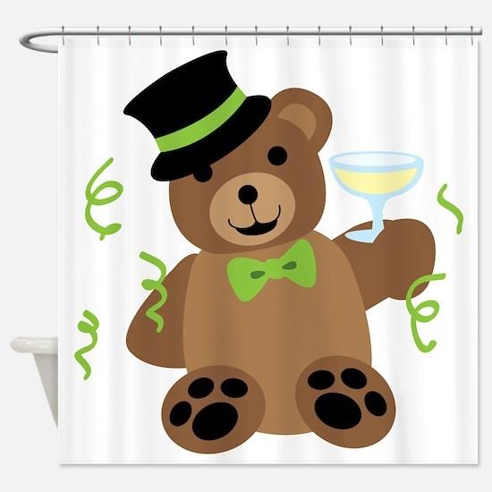 New Years Teddy Bear Shower Curtain