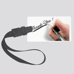 Thank You, being written with pe Large Luggage Tag