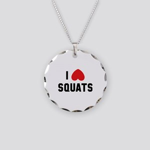 I Love Squats Necklace Circle Charm