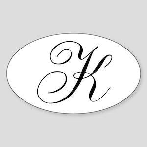 K Initial Black and White Sript Sticker