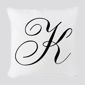 K Initial Black and White Sript Woven Throw Pillow