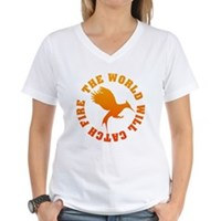 The World Will Catch Fire Women's V-Neck T-Shirt