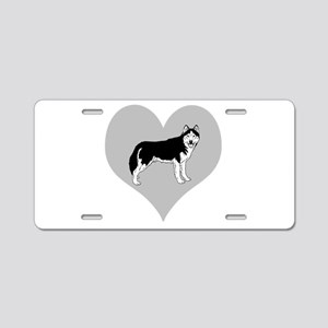 Love Alaskan Malamute Dogs Aluminum License Plate