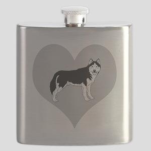 Love Alaskan Malamute Dogs Flask