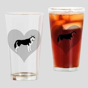 Love Alaskan Malamute Dogs Drinking Glass