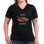 Lefse Junkie Women's V-Neck Dark T-Shirt