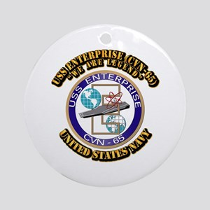 USS Enterprise (CVN-65) with Text Ornament (Round)