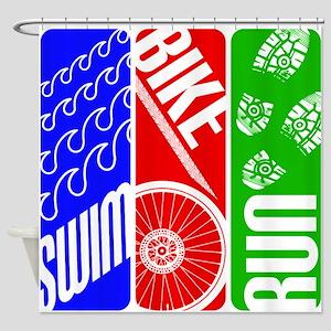 Triathlon TRI Swim Bike Run Shower Curtain